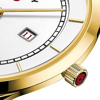 Roterende Limited Edition Poppy kvarts gull PVD tilfelle svart skinn stropp menns se