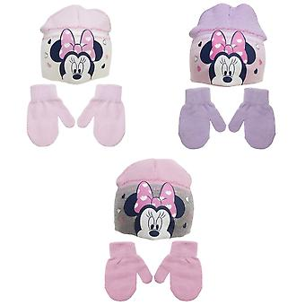 Minnie Mouse Childrens/Kids Love Heart Beanie Hat And Mitten Set