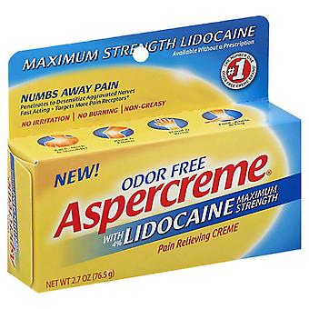 Aspercreme maximum strength lidocaine pain relieving creme, 2.7 oz