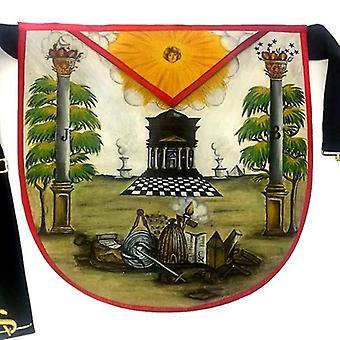 Hand-painted masonic lambskin apron