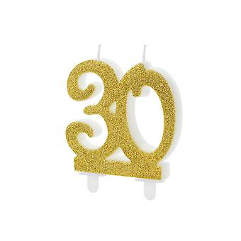 Gold Glitter Birthday Candle Number 30, Cake Decorations 7.5cm