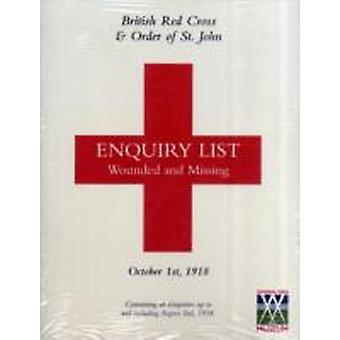 BRITISH RED CROSS AND ORDER OF ST JOHN ENQUIRY LIST FOR WOUNDED AND MISSING DECEMBER 1ST 1918 by Anon