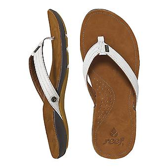 Reef Miss J-Bay Leather Sandals in Tan/White