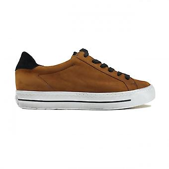 Paul Green 4835-03 Brown Nubuck Leather Womens Lace Up Trainers