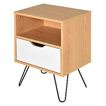 HOMCOM BedsideTable Nightstand Table Cabinet Storage One drawer metal Legs HOME White Natural Color