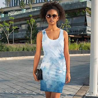 Slim Fit Dress | Watercolor in Blue and White