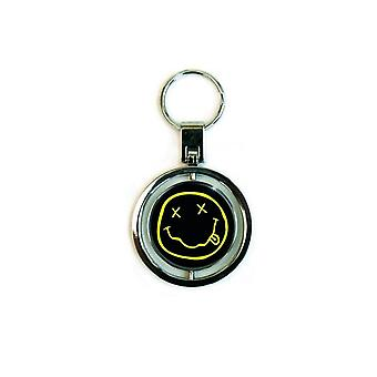 Nirvana Keyring Keychain Classic Smiley Face band Logo Official New Spinner
