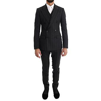 Dolce & Gabbana Black Striped Double Breasted 3 Piece Slim Fit Suit
