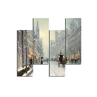 Veelkleurige Winter City schilderij in MDF, L19xP0.3xA50 cm (4 stukken)