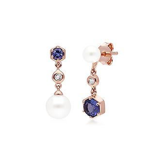 Moderni helmi, tanzanite & topaasi yhteensottelu pudota korvakorut rose kullattu sterlinghopea 270E030308925