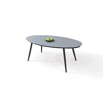 Alu stół matowe szkło 200 cm, owalny - antracyt
