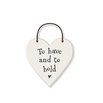 To Have & To Hold Mini Wooden Hanging Heart - Wedding Cracker Filler Gift