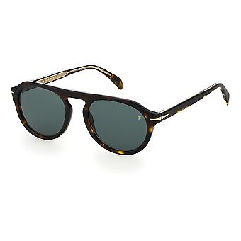 David Beckham DB7009/S 086/QT Dark Havana/Green Sunglasses