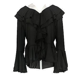 K Jordan Women's Top Sheer Ruffle with Long Sleeve Black