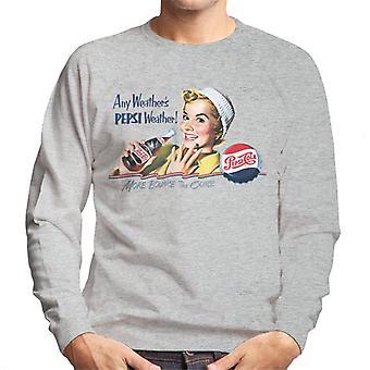 Pepsi Cola Retro Mädchen jedes Wetter Männer's Sweatshirt