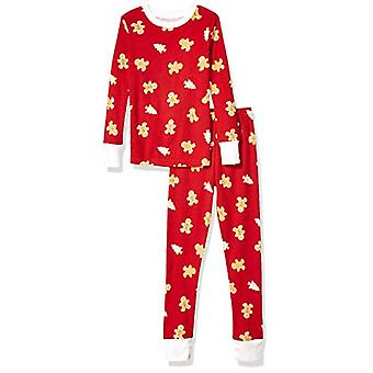 Essentials Kids Long-Sleeve Tight-Fit 2-Piece Pajama Set, Red Gingerbr...
