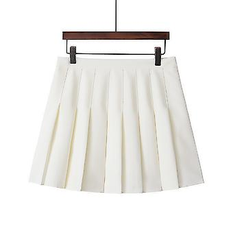 Womens High Waisted Pleated Zip Tennis Style Skater Mini Skirt
