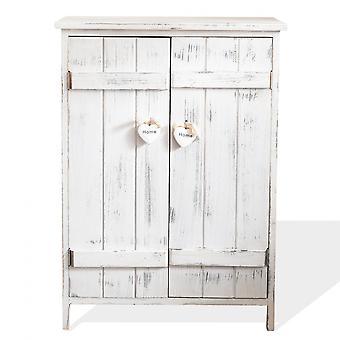 Rebecca Huonekalut Comodino Double Anta White Wood Shabby Chic 70x51x30