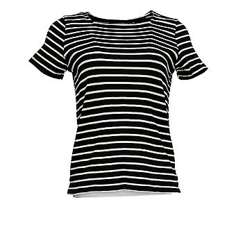 BROOKE SHIELDS Timeless Women's Top Striped Square Neck Black A349672