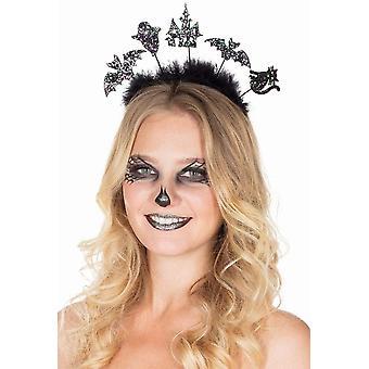 Glitzer Halloween Haarreif Marabou Grusel Accessoire