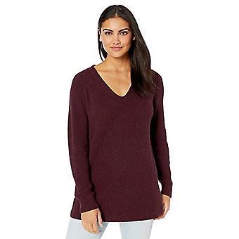 Märke - Goodthreads Women&s Cotton Half-Cardigan Stitch Deep V-Neck Sweater, Wine Heather, Small