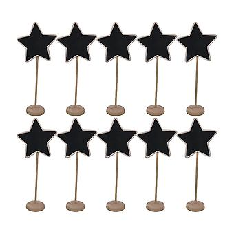 10PCS En bois Mini Stand Tableau noir Signe pentagramme en forme