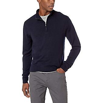 Goodthreads Men's Merino Wool Quarter Zip Sweater, Marine, Moyenne Tall