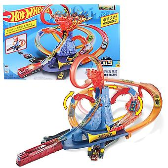 Hot Wheels City Electric Series, Volcano Escape Theme Challenge Track Car Toy