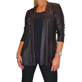 Mujeres's 2 en 1 cuello redondo Top con chaqueta adjunta look wet look Glittery Effect Lurex Top Evening 10-18