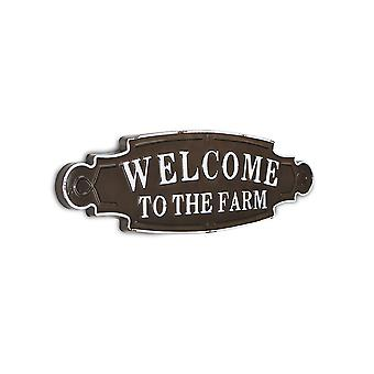 Lacquered Black and White Metal Decorative Wall Mounted Sign  Welcome to the Farm
