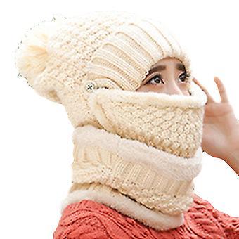 YANGFAN Women Warm Thickend Knitted Hat Scarf 3 Pcs Set