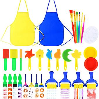 Pllieay 32 pieces kid painting brushes sponge drawing tools with plastic palettes, paint bowls, spon