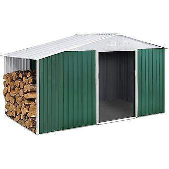 Caseta de metal Rosas 4,07 m² con leñero