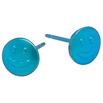 Ti2 Titanium Smile 6mm Stud Earrings - Kingfisher Blue