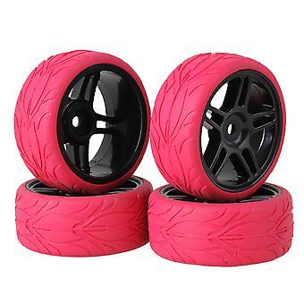4ks Red Fish Scale gumové pneumatiky & Black Pentagram ráfik kolesa pre RC1:10 na ceste auto