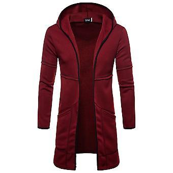 Mens Hooded Solid  Coat, Jacket Cardigan Long Sleeve, Outwear Male Autumn