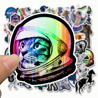 Outer Space Sticker, Ufo Alien Computer Stickers Astronaut Rocket Cartoon Diy
