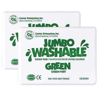 Jumbo Washable Unscented Stamp Pad, Green, Pack Of 2