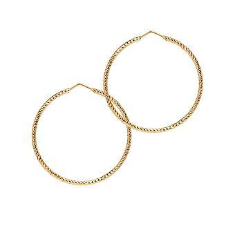 The Hoop Station Roma Diamond-Cut Gold Plated 45 Mm Hoop Earrings H100Y