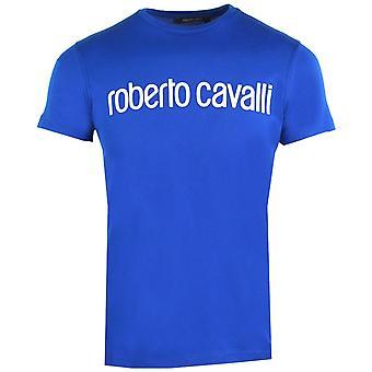 Roberto Cavalli Logo Sininen T-paita