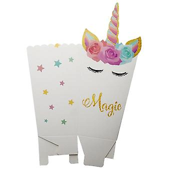 Unicorn Party Supplies Paper Popcorn Box Candy Cookies Bag