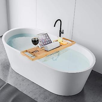 Woodluv Luxury Bamboo Bath Bridge Tub Caddy Tray Rack Bathroom Shelf