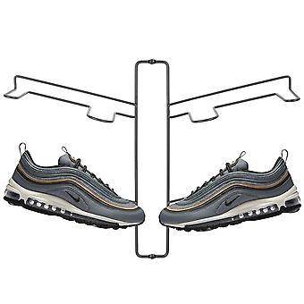 mDesign Modern Metalen Schoen Display & Opslag rack, 2 Tier, Muur mount