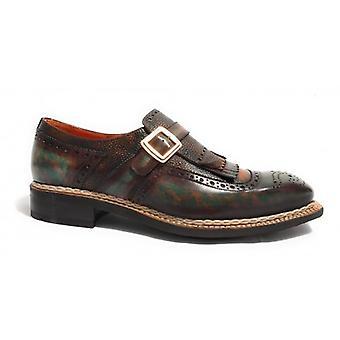 Men's Shoes Harris Hand-Worked Buckle Leather Dark Rice Beak/ Blue Tampon U17ha77