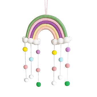 Decoración de la habitación del bebé, ornamentos nórdicos del arco iris tejidos a mano, juguete de cuerda diy, pared