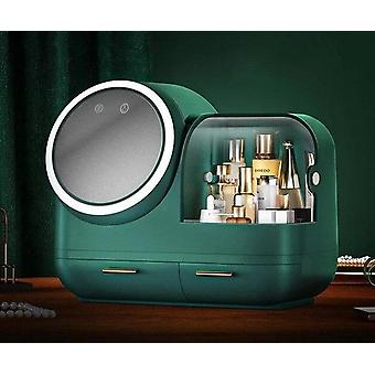 Modern luxurious makeup and jewellery storage organizer with built in mirror and led light
