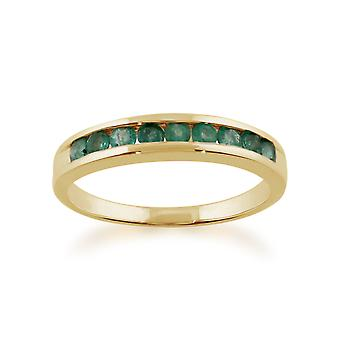 Channel Set 0.44ct Round Emerald Ring in 9ct Yellow Gold 108R2496149