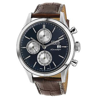 Gevril Men's West Side St Automatic Chronograph Watch brown strap