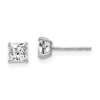 14k Vitt Guld 4mm Square CZ Cubic Zirconia Simulerade Diamond Post Örhängen Mäter 4x4mm breda smycken gåvor för kvinnor