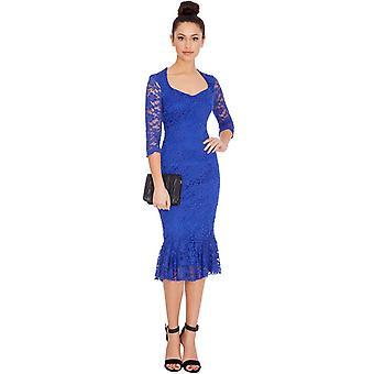 Blue lace-lined peplum hem fitted midi dress